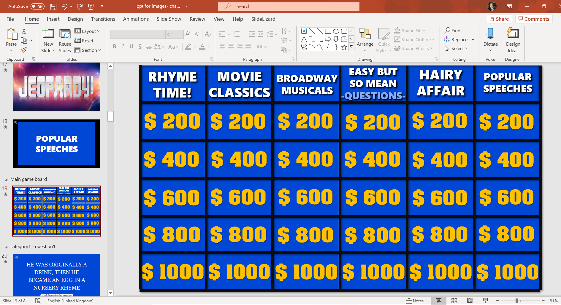 Jeopardy Game Template For Powerpoint 2021 Slidelizard